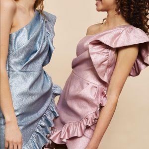 Topshop - one shoulder metallic dress (pink)